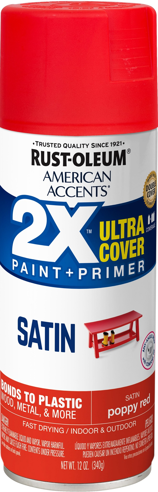 (3 Pack) Rust-Oleum American Accents Ultra Cover 2X Satin Poppy Red Spray Paint and Primer in 1, 12 oz