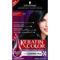 Schwarzkopf Keratin Color Permanent Hair Color Cream 1.1 Midnight Black - 2.03 fl oz