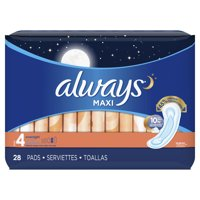 ALWAYS Maxi Size 4 Overnight Pads Without Wings Unscented, 28 Count