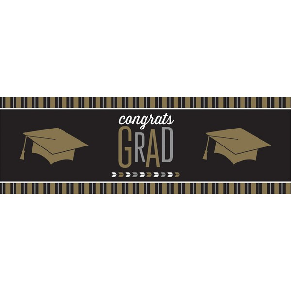 Silver And Gold Glitz Graduation Giant Party Banner