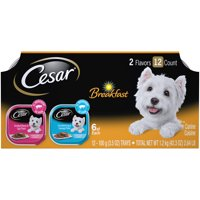 (12 Pack) CESAR Wet Dog Food Classic Loaf in Sauce Breakfast Variety Pack, 3.5 oz. Easy Peel Trays