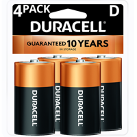 Duracell 1.5V Coppertop Alkaline D Batteries 4 Pack