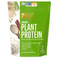 BetterBody Foods Organic Plant Protein Powder, Unflavored, 15g Protein, 0.8lb, 12.7oz