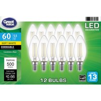 Great Value LED Light Bulb, 5.5 Watts (60W Eqv.) B10 Deco Lamp E12 Base, Dimmable, Soft White, 12-Pack,Clear