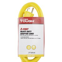 Hyper Tough 2 foot Heavy Duty Adapter Extension Cord, Yellow