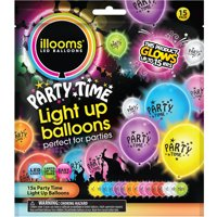 illooms Party Time Mixed Color LED Light Up Balloons, 15-Pack