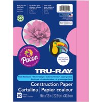 """Pacon Tru-Ray 9"""" x 12"""" Sulphite Construction Pink Paper, 30 Count"""
