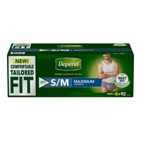 Depend Men's Tailored Fit Maximum Small/Medium, 92 ct