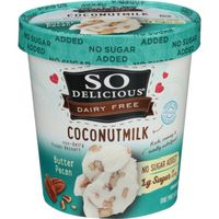 So Delicious ® Dairy Free No Sugar Added Butter Pecan Coconutmilk Non-Dairy Frozen Dessert 1 pt. Carton