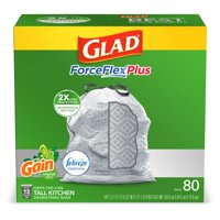 Glad Tall Kitchen Trash Bags, 13 Gallon, 80 Bags (ForceFlexPlus, Gain Original)