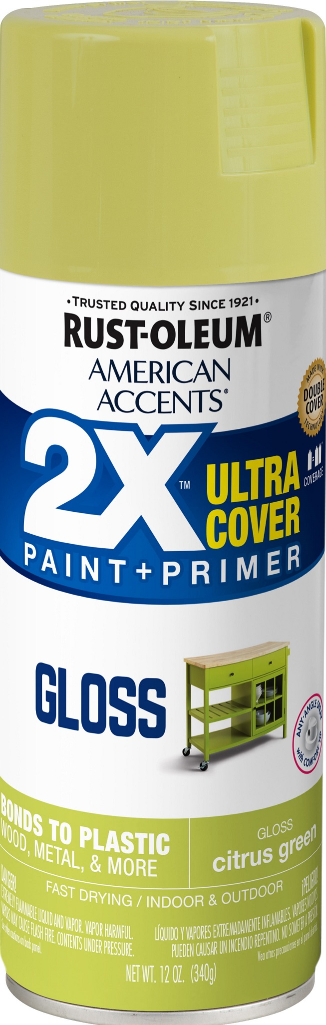 (3 Pack) Rust-Oleum American Accents Ultra Cover 2X Gloss Citrus Green Spray Paint and Primer in 1, 12 oz