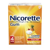 Nicorette Nicotine Coated Gum to Stop Smoking, 4mg, Fruit Chill Flavor - 100 Count