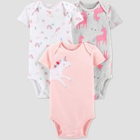 Baby Girls' 3pk Unicorn Bodysuit - Just One You® made by carter's Pink/White