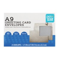 Pen+Gear Greeting Card Envelopes, A9, Silver, Peel & Stick, 25 Count