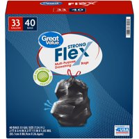 Great Value Multi-Purpose Trash Bags, 33 Gallon, 40 Bags (Strong Flex)