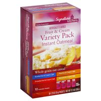 Signature Kitchens Oatmeal, Instant, Fruit & Cream, Variety Pack