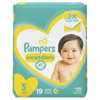 Pampers Swaddlers Soft and Absorbent Diapers, Size 5, 19 Ct