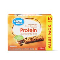 Great Value Protein Chewy Granola Bars, Peanut Butter & Dark Chocolate, 14 oz, 10 Count