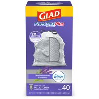 Glad Tall Kitchen Trash Bags, 13 Gallon, 40 Bags (ForceFlexPlus, Lavender)