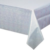 "Way to Celebrate Blue Iridescent 54"" x 102"" Plastic Tablecloth"