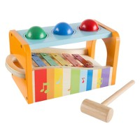 Hey! Play! Interactive Wooden Toy Bench & Xylophone