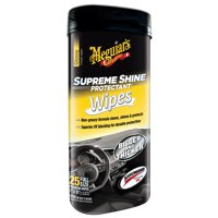 Meguiar's Supreme Protectant Interior Cleaner Wipes For High Shine G4000, 25 Wipes