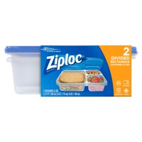 Ziploc 2 CT Divided Rectangle Container, 21.9 oz. Each, One Press Seal Plastic Storage Container