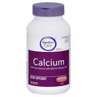 Signature Home Calcium + D3 Calcium 600 Mg Vitamin D3 20 Mcg (800 Iu) Dietary Supplement Tablets