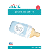 Foil Baby Boy Bottle Balloon, Blue, 39in