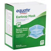 Equate Earloop Disposable Facemasks, 20 count