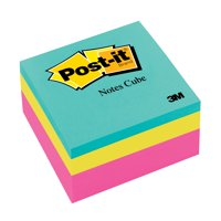 Post-it Notes Cube, 3 in x 3 in, Bright Colors, 1 Cube/Pack, 400 Sheets/Cube