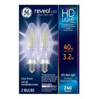 GE LED 4W HD Reveal Decorative Clear Finish, Small Base, Base, Dimmable, 2pk Light Bulbs