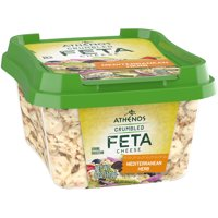 Athenos Feta Cheese Crumbles, Mediterranean Herb Cheese, 6 oz Tub