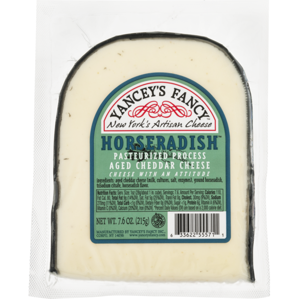 Yancey's Fancy New York's Artisan Cheese Aged Cheddar Cheese Horseradish