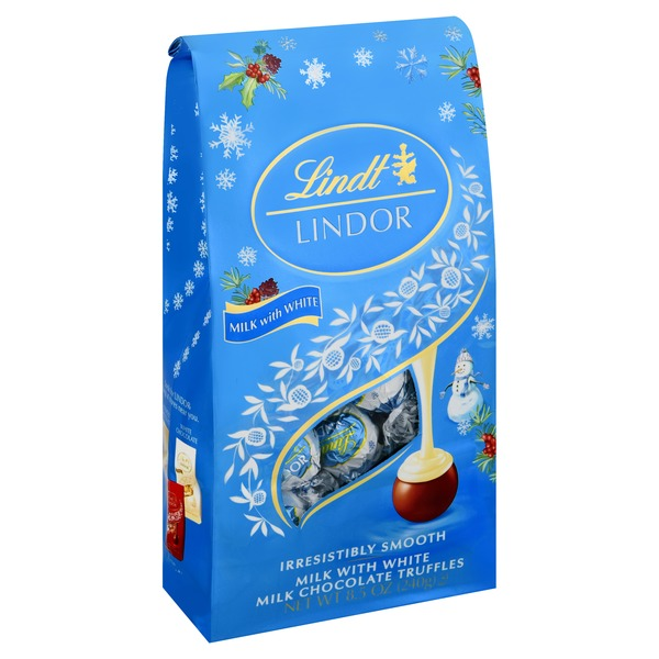Lindt LINDOR Holiday Milk and White Snowman Chocolate Truffles