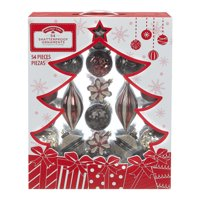 Holiday Time Shatterproof Ornaments, 54-Count, Red Brown Gold