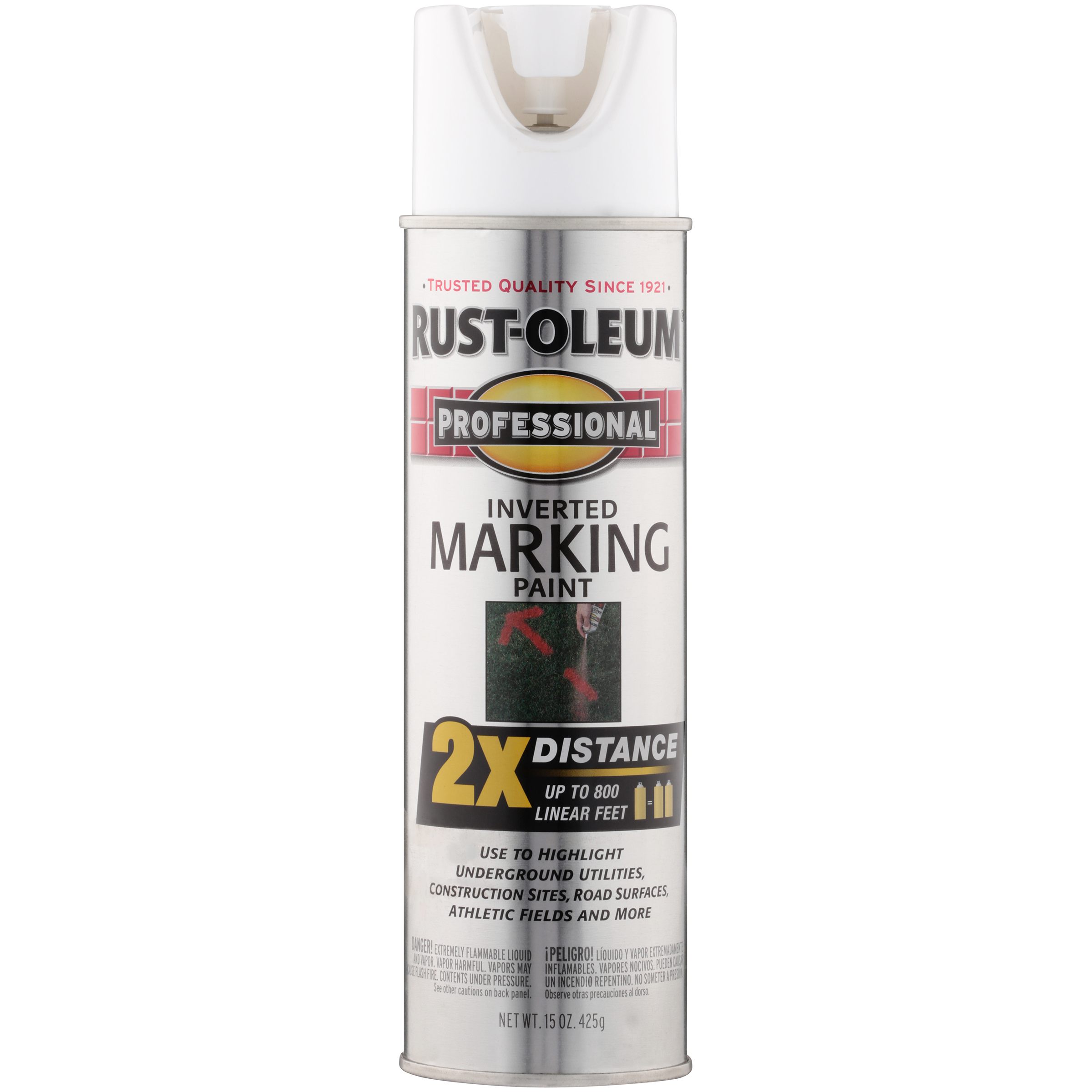 (3 Pack) Rust-Oleum Professional White Inverted Marking Spray Paint, 15 oz