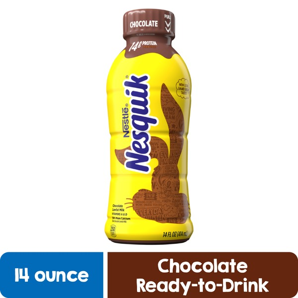Nestle Nesquik Nestle  Low Fat Chocolate Milk, Pack of 12 – Delicious and Convenient Ready to Drink Chocolate Milk in a Resealable Bottle, Good Source of Protein