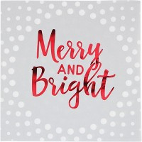 Foil Stamped Holiday Merry and Bright Silver Napkins Silver