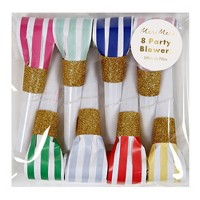 Meri Meri - Bright Stripe Party Blowers - Party Favors - 8ct