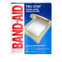 Band-Aid Brand Tru-Stay Adhesive Pads, Large Bandages for Wound Care, 10 ct