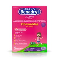 Children's Benadryl Allergy Chewable Tablets, Grape Flavor, 20 ct