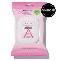 25 Count, Almay Makeup Remover Wipes, Micellar Water Biodegradable Cleansing Towelettes, Sensitive Skin, Hypoallergenic, Cruelty Free, Fragrance Free