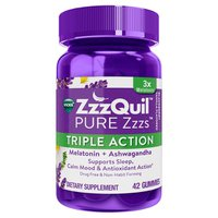 V PURE Zzzs Vicks PURE Zzzs Triple Action Gummy Melatonin Sleep-Aid with Ashwagandha, 42
