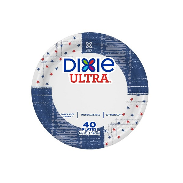 """Dixie Ultra 7"""" Star Fields & Blue Paper Plates - 40ct"""
