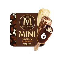 Magnum Mini Classic, Almond and White Ice Cream Bars, 6 ct