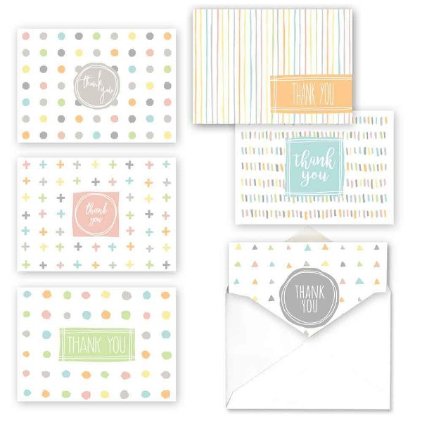 36ct Simply Shapes Baby Thank You Assortment Card Packs