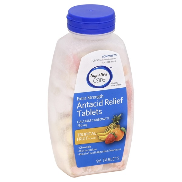 Signature Care Antacid Relief, Extra Strength, 750 mg, Chewable Tablets, Tropical Fruit Flavor