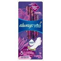 Always Radiant Size 5 Extra Heavy Absorbency Scented Overnight Sanitary Pads With Wings - 18ct