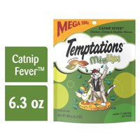 TEMPTATIONS MIXUPS Crunchy and Soft Cat Treats Catnip Fever Flavor, 6.3 oz. Pouch